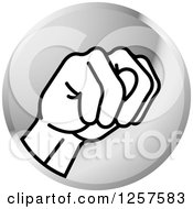 Clipart Of A Silver Icon Of A Sign Language Hand Gesturing Letter N Royalty Free Vector Illustration