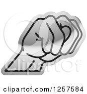 Clipart Of A Silver Sign Language Hand Gesturing Letter N Royalty Free Vector Illustration