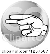 Clipart Of A Silver Icon Of A Sign Language Hand Gesturing Letter H Royalty Free Vector Illustration
