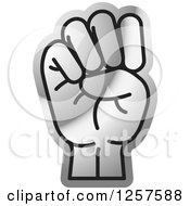 Clipart Of A Silver Sign Language Hand Gesturing Letter E Royalty Free Vector Illustration