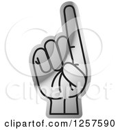 Clipart Of A Silver Sign Language Hand Gesturing Letter D Royalty Free Vector Illustration