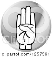 Clipart Of A Silver Icon Of A Sign Language Hand Gesturing Letter B Royalty Free Vector Illustration
