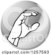 Clipart Of A Silver Icon Of A Sign Language Hand Gesturing Letter C Royalty Free Vector Illustration