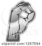 Clipart Of A Silver Sign Language Hand Gesturing Letter O Royalty Free Vector Illustration