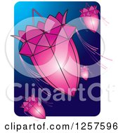Clipart Of Pink Sri Lankan Vesak Kuudu Lanterns Over Blue Royalty Free Vector Illustration