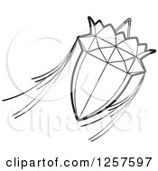 Clipart Of A Black And White Sri Lankan Vesak Kuudu Lantern Royalty Free Vector Illustration by Lal Perera