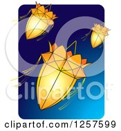 Clipart Of Orange Sri Lankan Vesak Kuudu Lanterns Over Blue Royalty Free Vector Illustration