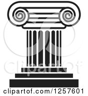 Clipart Of A Black And White Pillar Column Royalty Free Vector Illustration by Lal Perera