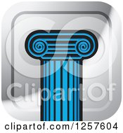 Clipart Of A Blue Pillar Column On A Square Silver Icon Royalty Free Vector Illustration by Lal Perera