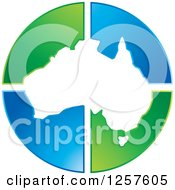 Clipart Of A Map Of Australia Over Green And Blue Triangles Royalty Free Vector Illustration by Lal Perera