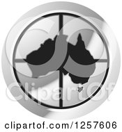 Clipart Of A Silver Round Icon With A Black Australia Map Royalty Free Vector Illustration by Lal Perera