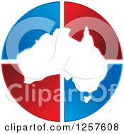 Clipart Of A Map Of Australia Over Red And Blue Triangles Royalty Free Vector Illustration by Lal Perera