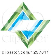 Clipart Of A 3d Blue And Green Broken Diamond Royalty Free Vector Illustration by Lal Perera