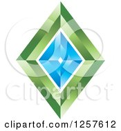 Clipart Of A 3d Blue And Green Diamond Royalty Free Vector Illustration by Lal Perera
