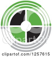 Clipart Of A Black Green And Gray Target Royalty Free Vector Illustration by Lal Perera