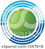Clipart Of A Green Circle With Blue Rings Royalty Free Vector Illustration