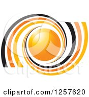 Clipart Of Black And Orange Spirals Around A Sphere Royalty Free Vector Illustration