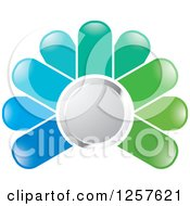 Clipart Of A Green And Blue Abstract Flower Button Logo Royalty Free Vector Illustration