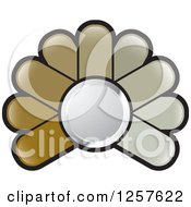 Clipart Of A Brown Abstract Flower Button Logo Royalty Free Vector Illustration