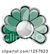Clipart Of A Green Abstract Flower Button Logo Royalty Free Vector Illustration