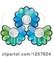 Clipart Of Green And Blue Abstract Flowers Button Logo Royalty Free Vector Illustration