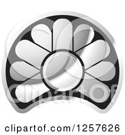 Clipart Of A Black And Silver Abstract Flower Button Logo Royalty Free Vector Illustration