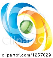 Clipart Of Blue And Orange Swooshes Around A Sphere Royalty Free Vector Illustration