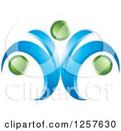 Clipart Of An Abstract Blue Wave And Green Orb Logo Royalty Free Vector Illustration