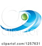 Clipart Of An Abstract Blue Wave And A Green Orb Logo Royalty Free Vector Illustration
