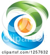 Clipart Of An Abstract Blue And Green Waves And Orange Orb Logo Royalty Free Vector Illustration