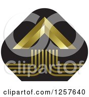 Clipart Of A Gold Pyramid On A Black Diamond Icon Royalty Free Vector Illustration