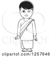 Clipart Of A Black And White Standing Sinhala Boy At Temple Royalty Free Vector Illustration by Lal Perera