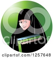 Clipart Of A Happy Muslim Girl Carrying Books Over A Green Circle Royalty Free Vector Illustration