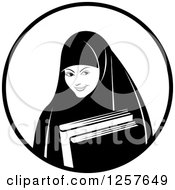 Clipart Of A Black And White Happy Muslim Girl Carrying Books In A Circle Royalty Free Vector Illustration