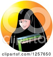 Clipart Of A Happy Muslim Girl Carrying Books Over An Orange Circle Royalty Free Vector Illustration