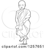 Clipart Of A Black And White Buddhist Monk Royalty Free Vector Illustration