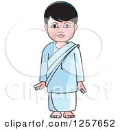 Clipart Of A Standing Sinhala Boy At Temple Royalty Free Vector Illustration by Lal Perera