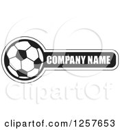Clipart Of A Black And White Soccer Ball With Company Name Sample Text Royalty Free Vector Illustration by Lal Perera
