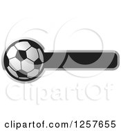 Clipart Of A Soccer Ball With A Bar For Text Royalty Free Vector Illustration by Lal Perera