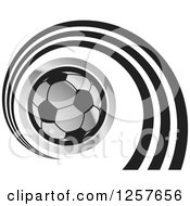 Clipart Of A Silver Soccer Ball With A Spiral Royalty Free Vector Illustration by Lal Perera