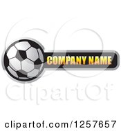Clipart Of A Soccer Ball With Company Name Sample Text Royalty Free Vector Illustration by Lal Perera