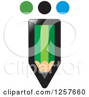 Clipart Of A Green Pencil With Dots Royalty Free Vector Illustration by Lal Perera