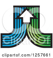 Clipart Of Curves Of Blue And Green With An Arrow Royalty Free Vector Illustration