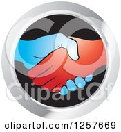 Clipart Of Blue And Red Hands Shaking In A Silver And Black Circle Icon Royalty Free Vector Illustration