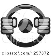 Clipart Of Grayscale Hands On A Steering Wheel Royalty Free Vector Illustration by Lal Perera