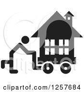 Clipart Of A Black And White Person Moving A House Icon Royalty Free Vector Illustration