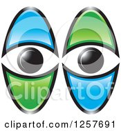 Clipart Of Blue And Green Eyes Royalty Free Vector Illustration by Lal Perera