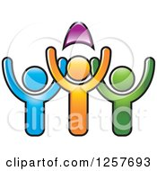 Clipart Of Colorful Diverse Team Of People Cheering Royalty Free Vector Illustration by Lal Perera