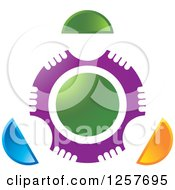 Clipart Of A Circle Of Abstract People Around Green Royalty Free Vector Illustration
