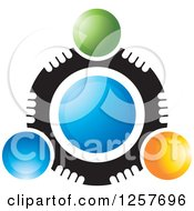 Clipart Of A Circle Of Abstract People Around Blue Royalty Free Vector Illustration by Lal Perera